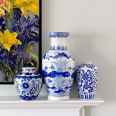 Large Chinoiserie Baluster Vase Tall Blue White Ceramic Centerpiece by ModRendition