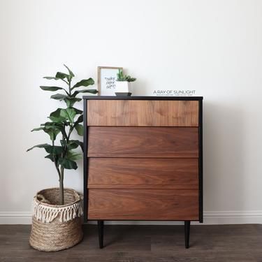 Black Mid Century Modern Dresser - Painted Dresser - MCM Dresser - Tall Dresser - Chest of Drawers - Modern Farmhouse - Vintage Furniture by ARayofSunlight