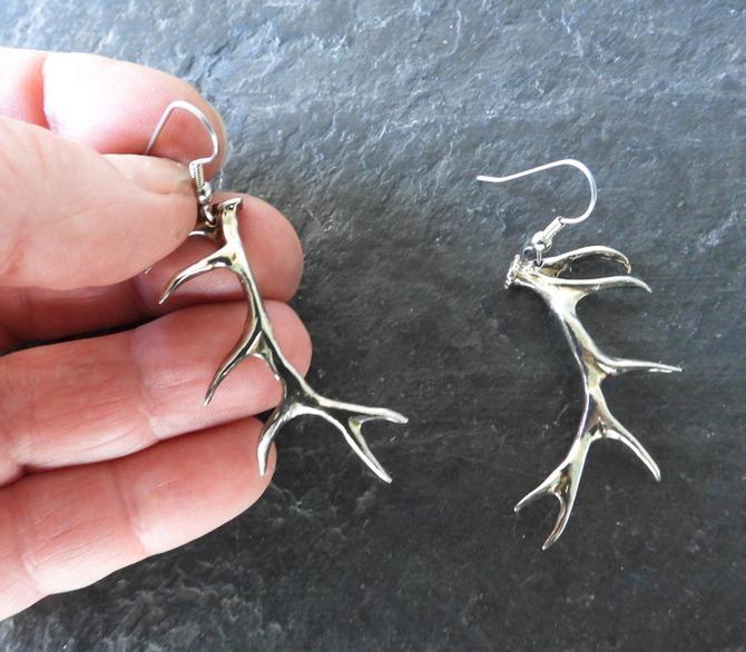 Hand Made Sterling Cast Antler Earrings by LegendaryBeast