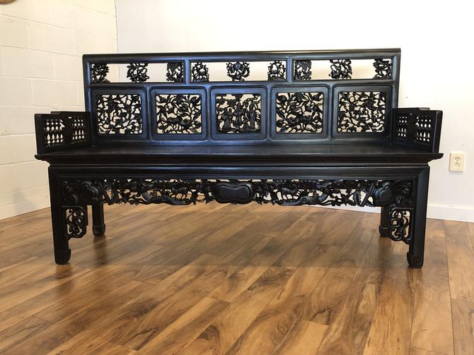 Carved Chinese Rosewood Bench