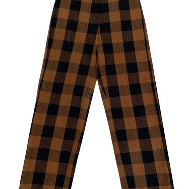 Silk Fly Front Pants Copper Plaid
