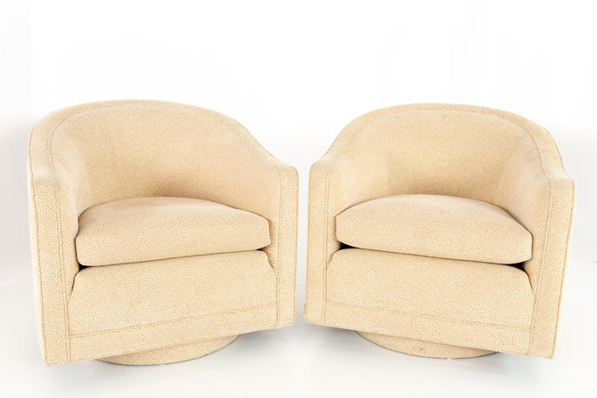 Edward Wormley for Dunbar Mid Century Barrel Swivel Lounge Chairs - Matching Pair - mcm by ModernHill
