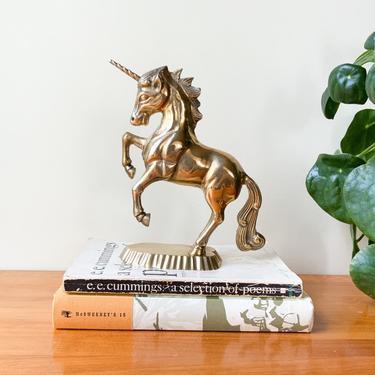Solid Brass Rearing Unicorn Figure / Vintage Gold Retro Mid Century Figurine / Whimsical Fantasy Animal Eclectic Boho Shelf Decor by Hawksbride