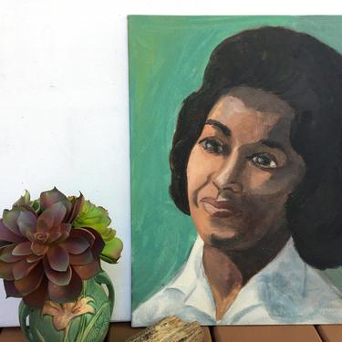 60's Vintage Painted Woman Portrait, African American Female Portrait, Original Art by luckduck