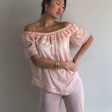 70s  lounge set / vintage blush pink 1970s semi sheer loungewear pant suit / 2 piece off shoulder pajama lounge set | S by RecapVintageStudio