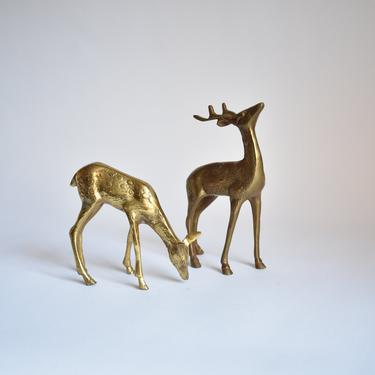 Vintage Brass Reindeer Collection | Set of Two Retro 1980s 1990s Metal Fireplace Decor | Mantel Accessories | Winter Holiday Hygge Gifts by LostandFoundHandwrks