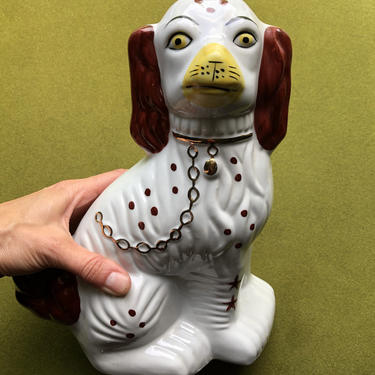Vintage Staffordshire Spaniel 10 inch Ceramic Figurine #1 (right facing) by VeeVintageShop