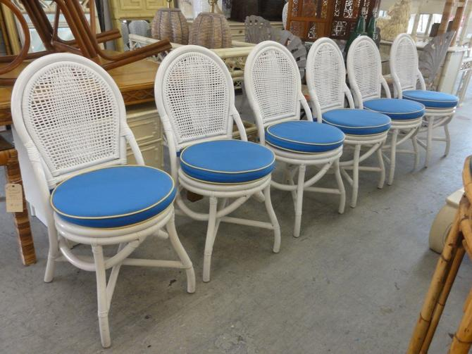 6 Coastal Style Rattan Painted Chairs