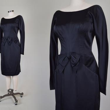 1960's Black Satin Cocktail Dress   1960s Bow Cocktail Dress by WisdomVintage