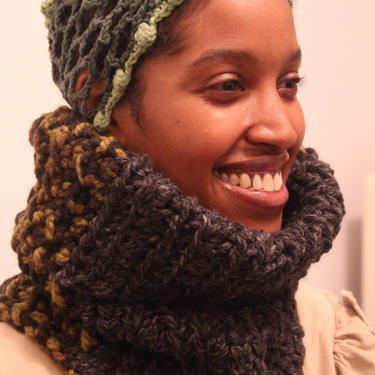 The Seed Neckwarmer in Charcoal, Camouflage and Grass/Crochet Neckwamer/Soft Chunky Crochet Snood/Chunky Crochet Neck-warmer by KonjoCrochet