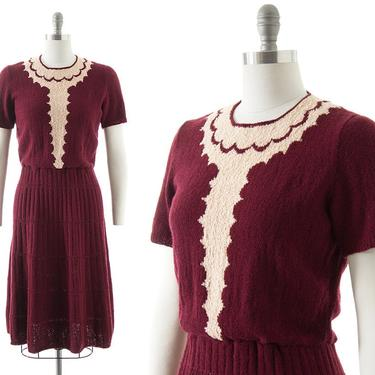 Vintage 1940s 1950s Sweater Dress | 40s 50s Scalloped Bouclé Knit Wool Burgundy Red Metallic Lurex Fit and Flare Knit Dress (small/medium) by BirthdayLifeVintage