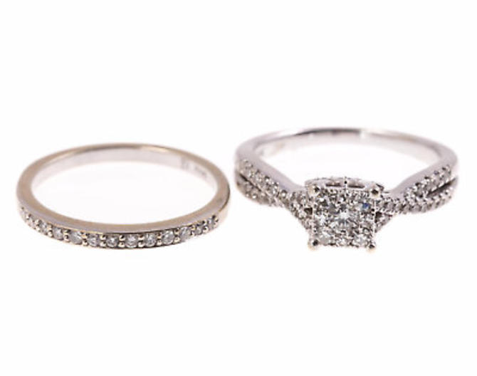 10k white gold Diamond Engagement Ring & 14k white gold diamond wedding Band Set by LazyCamel