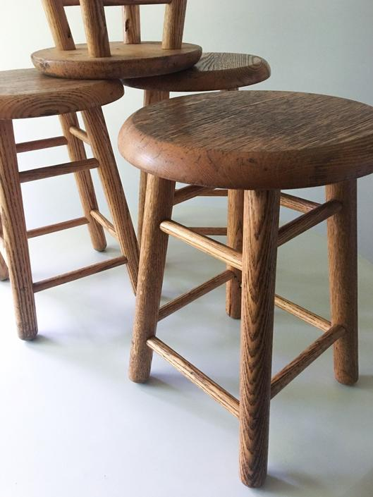 Classic Solid Oak Stools Low Tables Chair Height Scandinavian Country Vintage Set of 4 by CaribeCasualShop