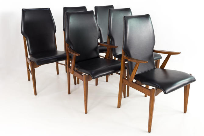 Lane First Edition Arne Vodder Style Walnut and Vinyl Highback Mid Century Dining Chairs - Set of 6 - mcm by ModernHill