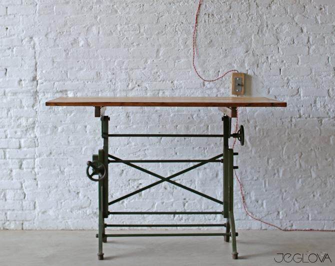 rare, value-retaining tilting vintage industrial drafting table desk by the Frederick Post Co., cast iron base, restored and revived top by jeglova