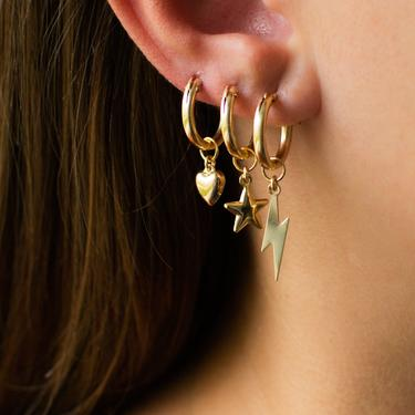 Charm Hoop Earrings, 14K Gold Filled Hoops With Heart, Star, Lightning Bolt Charm, Gold Huggie Hoop Earrings, Gifts For Her by LEILAjewelryshop