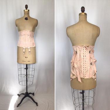 Vintage 1950s Corset   Vintage tea rose pink corset girdle   50s Joan Browne corset with garters by BeeandMason