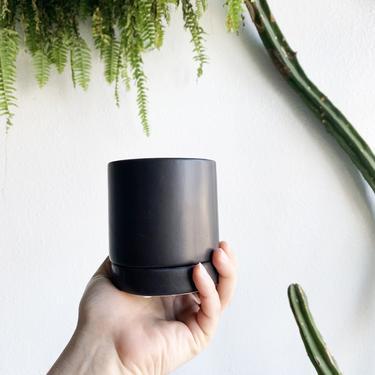 """3.75"""" Pot/Planter-Matte Black Cylinder with Saucer"""