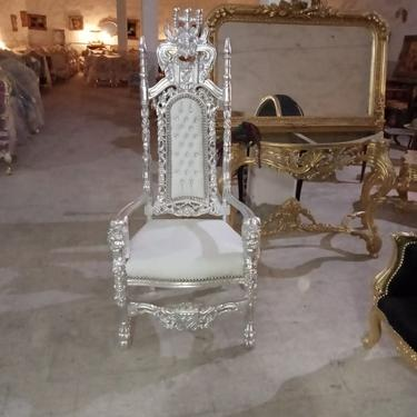 French Balloon Chair White Leather Throne Chair *2 Available* High-Back French Canopy Black Lacquer Chair White Leather Interior Design by SittinPrettyByMyleen