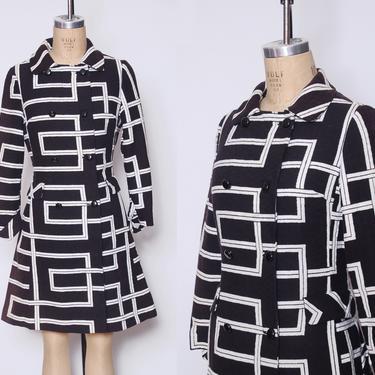 Vintage 60s graphic print jacket / black & white mod jacket / Joseph Magnin coat / 1960s printed jacket by ProspectVintageGoods