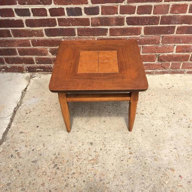 Small Lane Side Lamp Table With Burl Wood Inlay 3 Available