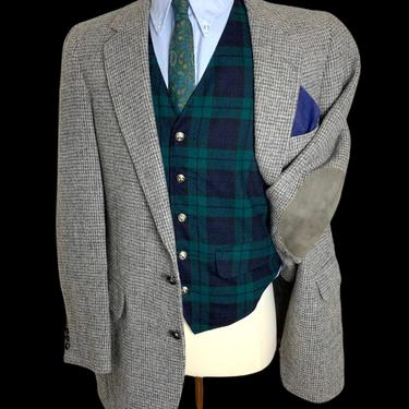 Vintage HARRIS TWEED Wool Blazer ~ 40 Long ~ Donegal ~ jacket / sport coat ~ Elbow Patches ~ Preppy / Ivy Style / Trad ~ by SparrowsAndWolves