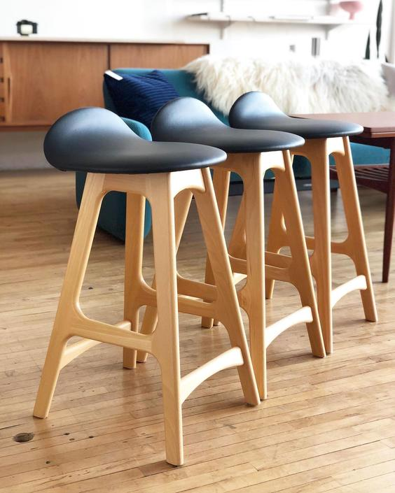 Set of 3 Erik Buch Stools in Beech and Leather