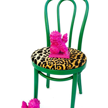 Vintage Thonet Bentwood Chair   Green & Leopard Velvet   Boho Decor   No.14 Chair   Removable Cushion Woven Cane Seat   Design Classic by ELECTRICmarigold