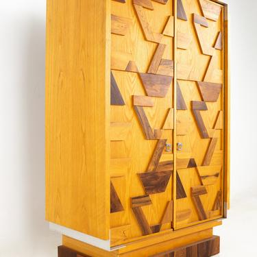 Canadian Brutalist Mid Century Geometric Oak Rosewood and Stainless Steel Armoire Highboy Dresser - mcm by ModernHill