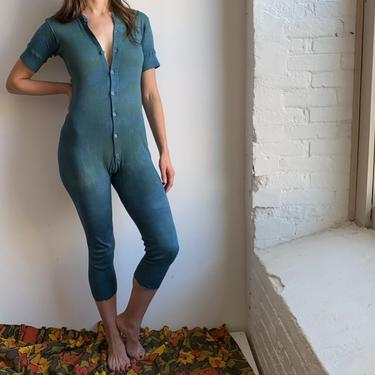 Vintage Green Faded One Piece Underwear Long Johns SMALL by milkandice