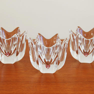 Set of 3 Orrefors Crystal Votive Candle Holders Clear by MidCentury55