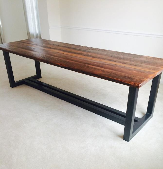 Free Shipping! The Ironworker - Contemporary Design Reclaimed Wood and Iron Dining Table by BarnWoodFurniture