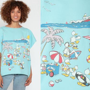 Beach Duck Shirt Lifestyles 80s Animal TShirt Short Sleeve Sweatshirt Cartoon Bird Vintage Retro T Shirt Graphic Tee 1980s Large by ShopExile