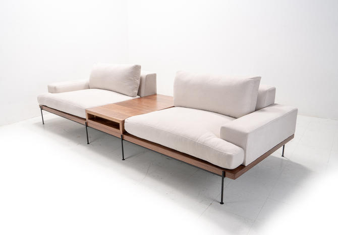 Modern Industrial Sofa + Cabinet + Feather Filled with Rod Iron base by TDFurniture