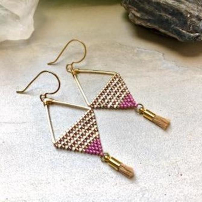 Diamond Shaped Earrings with Gold and Pink Beads