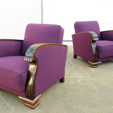 1920's ART DECO LOUNGE CLUB CHAIRS PAIR W/ NEW UPHOLSTERY Wood Bear Paw Arms