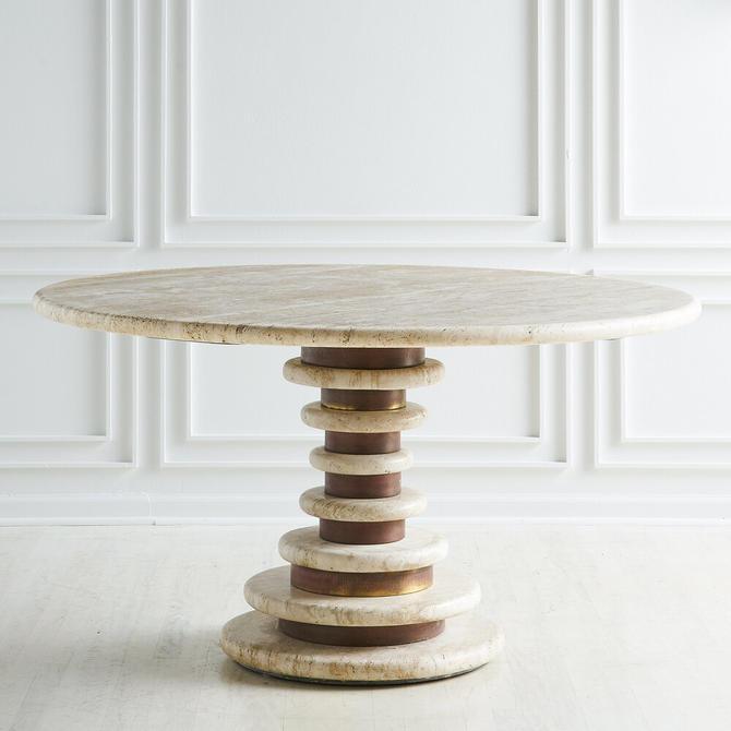 Large Travertine Dining Table by Marzio Cecchi