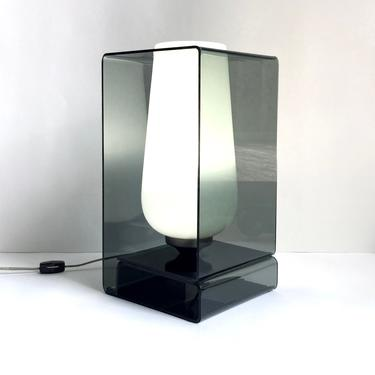 Cool Vintage Smoked Lucite & Glass Box Accent Lamp, 1960s Modernism Laurel? by templeofvintage