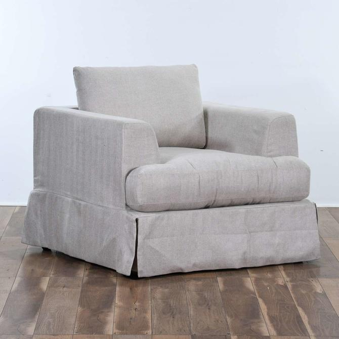 Contemporary Linen Armchair W Skirt