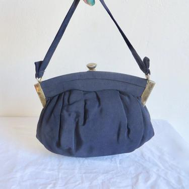 Vintage 1940's Navy Blue Faille Fabric Purse Top Handle Gold Metal Closure Clasp Hardware WW2 Era Handbag 40's Bags Accessories by seekcollect