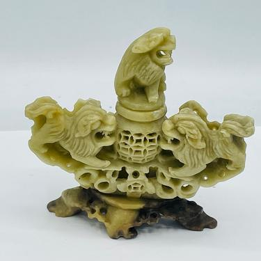 """Wonderful Antique Asian soapstone Foo Dog Stopper  Incense burner Carvings 4.25"""" by JoAnntiques"""