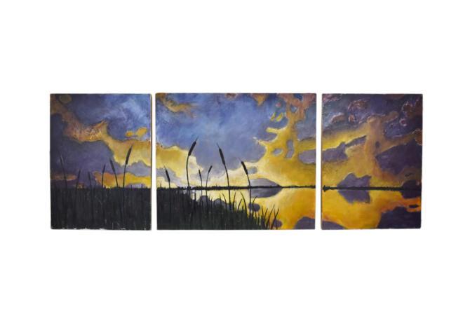 Michael Gricus Huge Triptych Oil Painting Prairie Landscape w Cattails Chicago by PrairielandArt