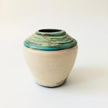 Vintage Abstract Pastel Raku Pottery Vase by SergeantSailor