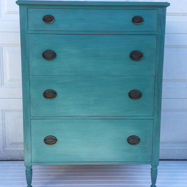 Refurbished Vintage Highboy Dresser, Antique Green Teal Turquoise Dresser, Federal Distressed Shabby Chic Chest of Drawers Free NYC Delivery by AntiqueBoutiqueNYC