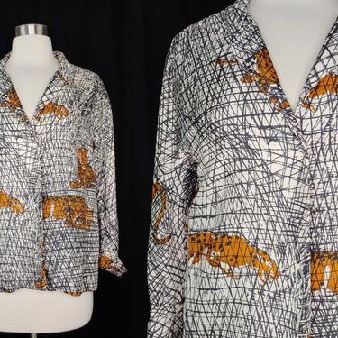 Vintage Silk Cheetah Print Jacket - Sketchy Artistic Drawn Leopard Print 3/4 Sleeve Jacket - Small - Medium by JanetandJaneVintage