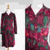 Vintage 60s Shirtdress, 1960s Day Dress, Leaf Print, Floral, Novelty Print by WildwoodVintage