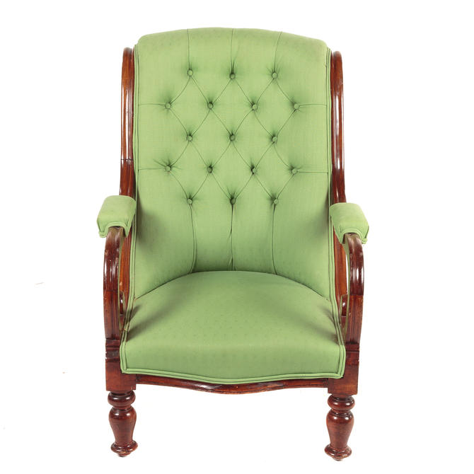 Victorian Mahogany & Upholstered Lolling Chair