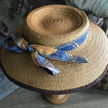 French Straw Garden Hat, Girls, Decorative Wall Hat, Ribbon Bow, Summer Sun Beach Hat by JansVintageStuff
