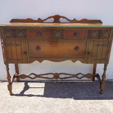 Antique Wood Buffet Cabinet  Neoclassical Primitive Sideboard Hutch Wood TV Media Console France Country Storage Table CUSTOM Paint Avail by DejaVuDecors