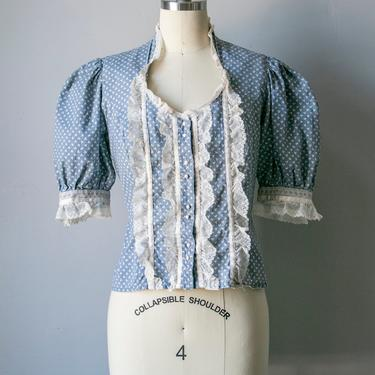 1970s Blouse Poof Sleeve Lace Top S by dejavintageboutique